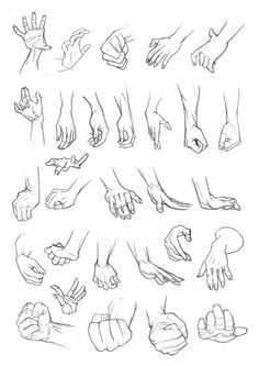 Anatomy Drawing Tutorial Hands can be really tricky. I've got pages and pages of hand studies in my sketchbooks but already had these scanned so they were easier to organise! Hope they help! Hand Drawing Reference, Art Reference Poses, Design Reference, Anatomy Reference, Drawing Poses, Manga Drawing, Drawing Tips, Drawing Hands, Drawings Of Hands