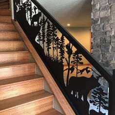 Stair Raling features wildlife and mountains A stunning stair railing installation with many animal and Colorado scenery in this custom railing design with metal fabrication Metal Stair Railing, Staircase Railings, Balcony Railing, Staircases, Railing Design, Home Design Plans, Cabin Interiors, Cnc, Modern Rustic
