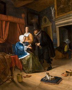 La joven enferma (The sick girl). Jan Havicksz Steen. 1660-1662. Localización: Galería Real de Pinturas Mauritshuis (La Haya). https://painthealth.wordpress.com/2015/11/23/la-joven-enferma/