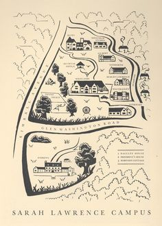 Campus map, ca. 1935. Courtesy of the Sarah Lawrence College Archives.