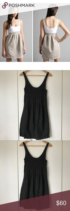 James Perse Pocket Tank Dress Black Linen Pleated Black pleated dress from Standard James Perse in size 2 (approximately women's size medium, see size chart). Lightweight cotton tank with pleated linen skirt. Perfect for summer! One breast pocket on tank. Side snap button closures (small area along buttons has had hem mended). James Perse Dresses Mini