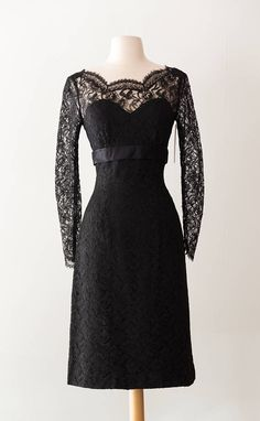 Vintage 1950's Black Lace Cocktail Dress / Sexy Vintage 50s