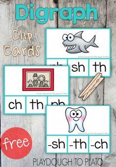 Free Digraph Clip Cards - Playdough To Plato