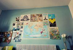 world map, fotc, paris, and turquoise. i like her taste.