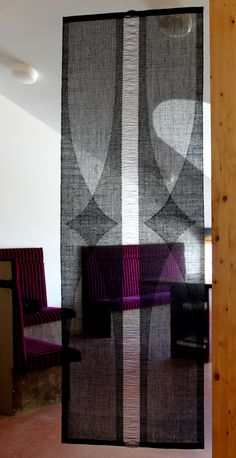 This panel is hand-woven. But think as inspiration for layering very thin linen. Hand-woven transparent weave of linen by Helena Vento Weaving Textiles, Weaving Art, Weaving Patterns, Loom Weaving, Tapestry Weaving, Hand Weaving, Art Textile, Home Textile, Textile Design