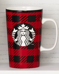 Ceramic coffee mug with a red-and-black checkered design. #Starbucks #DotCollection