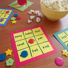 """Vocabulary bingo would be super fun to play in a classroom. If you're feeling really creative, create a giant game board with lots of pieces so students are the """"buttons""""."""