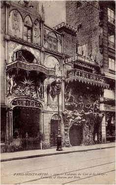 Two French Cabarets side by side in Montmartre. On the left is CABARET LE CIEL and on the right is CABARET L'ENFER