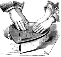 kinda like the ouija board the planchette is a psychic writing tool-i just like the image :)