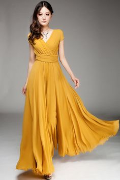 Yellow Lady Long Maxi Dress / Chiffon Woman Dress / Bridesmaid Dress / Long Prom Dress, LD010Y on Etsy, $79.99