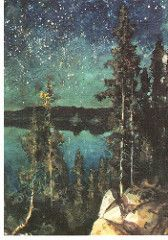 Eero Erik Nikolai Järnefelt, Julius's Starry Blue Spruce, Oil on canvas Nocturne, Sky Full Of Stars, Scandinavian Art, Nordic Art, Blue Spruce, Famous Artists, Landscape Paintings, Landscapes, Black Art