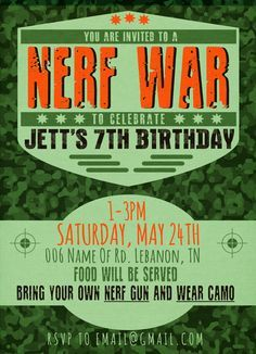 Looking for an affordable, creative birthday party for you little man? A nerf war was a huge hit for my 7 year old! If you are interested in this invitation it's only $10 payment via paypal and you...