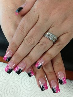 Lace & Bow tie Gel Nails by Janee Tittensor @ www.awildhairsalonreno.com