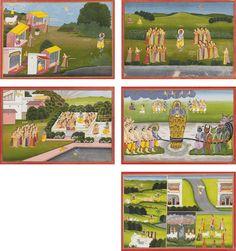 FIVE ILLUSTRATED FOLIOS FROM THE BHAGAVATA PURANA