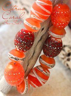 Citrus Coral Sea Salt Barrels handmade glass lampwork beads | beadsandbotanicals - Jewelry on ArtFire
