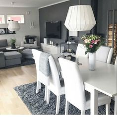 Living Roon Decor, Living Room Grey, Interior Design Living Room, Room Decor, Small Living Dining, Minimalist Dining Room, Pinterest Home, Living Room Remodel, Dining Room Design