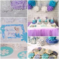Fabulous Frozen Theme Party by Frosted Events @frostedevents www.frostedevents.com Love this Frozen party decor! Tulle table skirt, dessert bar, hot cocoa favors, snowflake cookies, free printables