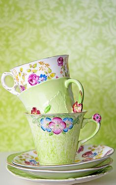 Marlene Ford - Tea time with vintage porcelain tea cups - love this color of green