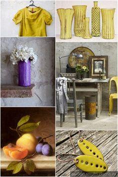 Желтый и сливовый