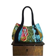 Absolutely gorgeoys for this fall! Im going to have trouble.   colorful DARJEELING TEA Medium Hobo purse / black by jennjohn, $69.00