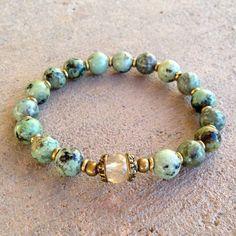 African Turquoise and Yellow quartz bracelet
