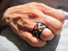 Nativo americano, Huichol ispirato anelli di perline colorati, per uomini e donne - la scelta dimensionamento personalizzato