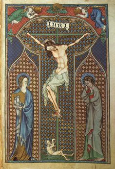 Crucifixion from the De Lisle Psalter.