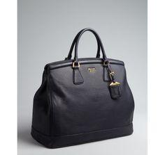Prada black leather logo large top handle bag ($550 off)