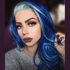 Turquoise Hair Ombre, Blue Ombre Hair, Blue Wig, Neon Hair, Violet Hair, Dark Auburn Hair, Dark Blue Hair, Bright Blue Hair, White Hair