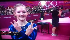 GYMNAST JENNIFER PINCHES FLASHES THE NERDFIGHTER SIGN...this was a good day for us nerdfighters.