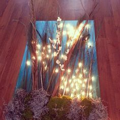 Painted canvas with lights made into nature decor piece!