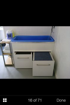 -Repinned- Grooming tub idea. Pull out step.