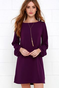AS SEEN IN REDBOOK! You'll be primed and ready in the Perfect Situation Purple Long Sleeve Shift Dress when everything starts falling into place! This woven poly dress has a casual shift shape, accented by a rounded neckline and long sleeves with lightly puffed shoulders. Sleeves end with matching button tabs on the fitted wrist cuffs.