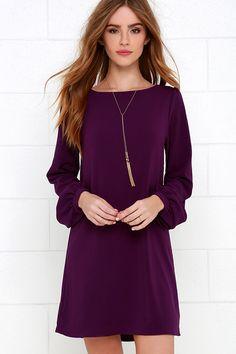 Perfect Situation Purple Long Sleeve Shift Dress at Lulus.com!