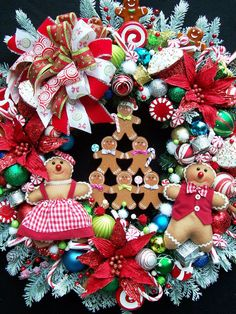A GINGERBREAD CHRISTMAS Wreath by UpTownOriginals on Etsy