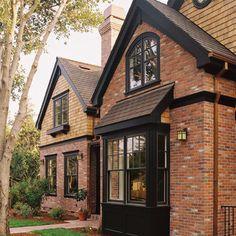 cedar shingles + brick + dark trim