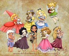 Chibi-Disney princesses and girls by rebenke on DeviantArt Kida Disney, Disney E Dreamworks, Disney Girls, Baby Disney, Princesas Disney, Disney Pixar, Cinderella Disney, Disney Cartoons, Disney Movies