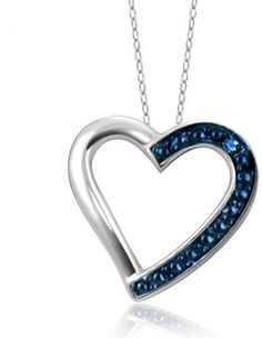 Sterling Silver Fancy Heart Pendant Necklace with Diamond Accents by JewelonFire