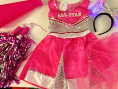 $21.5 FREE SHIPPING.  Circo 4-6x Girls Pink and Silver Cheerleader Costume Pretend Dress Up & Extras #CIRCO