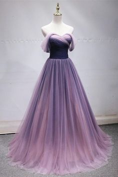 Prom party dresses - Simple Sweetheart Neck Long Prom Dress, Evening Dress With Sleeve from Sweetheart Dress – Prom party dresses Ombre Prom Dresses, Cute Prom Dresses, Tulle Prom Dress, Simple Dresses, Formal Dresses, Lavender Prom Dresses, Ombre Gown, Quince Dresses, Chiffon Dresses
