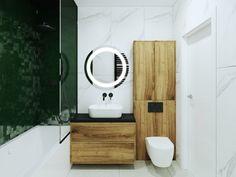 Łazienka z akcentem zieleni - Katowice | carrea.pl Bath Caddy, Toilet, Bathtub, Mirror, Bathroom, Furniture, Design, Home Decor, Google