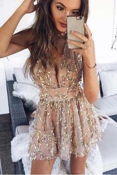 Sexy V Neck Cross Straps Back Sequined Nude Short Mini Prom Party Dress With Bow Nude Short Dresses, Nude Prom Dresses, Nude Dress, Prom Dresses Online, Prom Party Dresses, Orange Blush, Purple Grey, Winter Prom Dresses, Nude Shorts