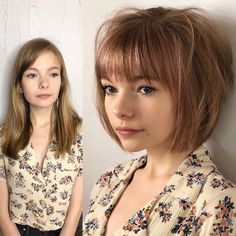 Mind Blowing Hair Transformation Before & After Photos - Gallery Long To Short Hair, Girl Short Hair, Short Hair Cuts, Cool Hairstyles For Girls, Pretty Hairstyles, Bob Hairstyles, Hairstyle Ideas, Medium Hair Styles, Curly Hair Styles
