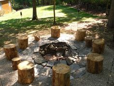 Awesome rustic backyard fire pit ideas about pits on cabin wedding Rustic Backyard, Backyard Seating, Rustic Outdoor, Outdoor Fire, Backyard Landscaping, Backyard Designs, Rustic Wood, Rustic Deck, Backyard Cabin