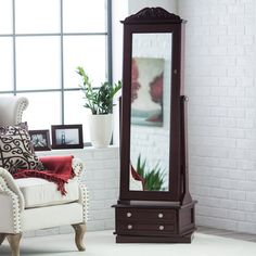 swivel cheval jewelry armoire