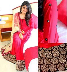 Red,black and cream...combo salwaar Kurta Skirt, Anarkali Dress, Black Anarkali, Chudidhar Designs, Kurta Designs, Indian Attire, Indian Wear, Elegant Saree, Ethnic Dress