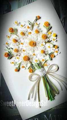 This beautifully hand-made Daisy bouquet card for Everyone!!!! All these cards are made by order,  *ABOUT CARD All my cards size is 11 x15cm(4.3 inch X 6 inch) All my cars can be a great gift!!  An envelope with a paper heart or flower leaf will be included. Every card is handmade, this card might