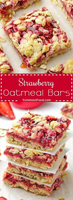 Healthy Breakfast Strawberry Oatmeal Bars are delicious, moist and easy breakfast that your family will love! This recipe is just awesome and super healthy! The best way to start your day - Healthy Breakfast Strawberry Oatmeal Bars!