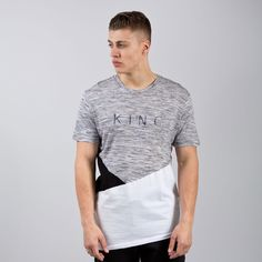 Panel Up Longline T-shirt - Heather Grey / Black / White  // Click the link to buy or for more info - https://www.king-apparel.com/new-collection/t-shirts/panel-up-longline-t-shirt-heather-grey-black-white.html