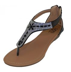 2f591220d37b91 Crystal Rhinestone Jeweled Thong Gladiator Low Wedge Black Sandals Back  Zipper